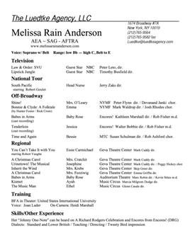 acting resume melissa rain anderson